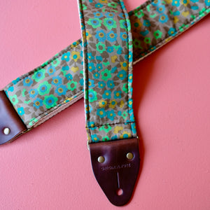 Green floral Italian silk guitar strap handmade in Nashville by Original Fuzz.