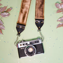 Brown velvet vintage-style camera strap by Original Fuzz for Black Friday.