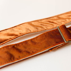 orange velvet vintage style guitar strap by Original Fuzz