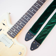 elegant emerald green velvet guitar strap by original fuzz
