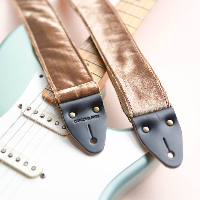 rose gold blush pink velvet guitar strap by original fuzz