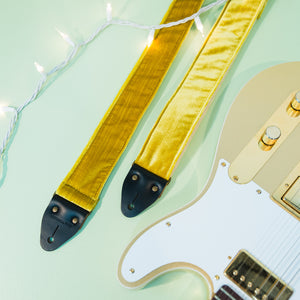 Yellow velvet guitar strap by Original Fuzz for Black Friday.