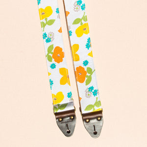 summery orange and yellow vintage floral guitar strap by Original Fuzz