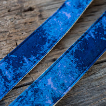 Vintage blue tie-dye guitar strap made by Original Fuzz in Nashville, TN.