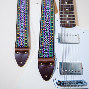 The vintage guitar strap in Depot Street with a Fender Jaguar