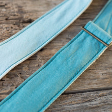Vintage guitar strap made with teal ombre cotton by Original Fuzz in Nashville, TN.