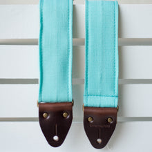 Vintage surf green polyester guitar strap made by Original Fuzz in Nashville, TN.
