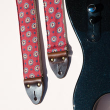 red and navy blue vintage pattern guitar strap by Original Fuzz