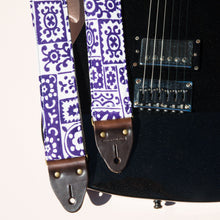 purple and white reclaimed vintage guitar strap by Original Fuzz
