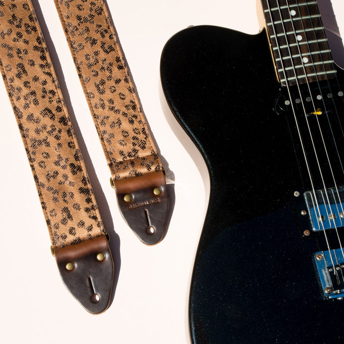 vintage golden leopard print guitar strap by Original Fuzz
