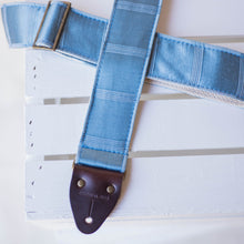 Vintage blue silk guitar strap made by Original Fuzz in Nashville, TN.