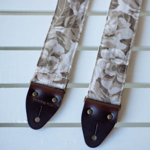 Vintage antiqued rose guitar strap made by Original Fuzz in Nashville, TN.