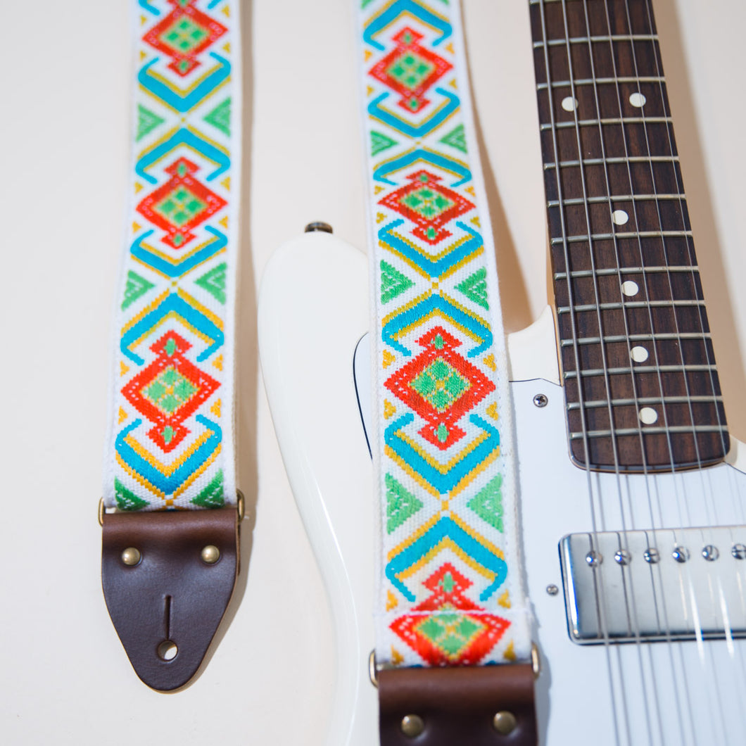 The vintage guitar strap in Town Mountain Road features a gorgeous geometric jacquard weave
