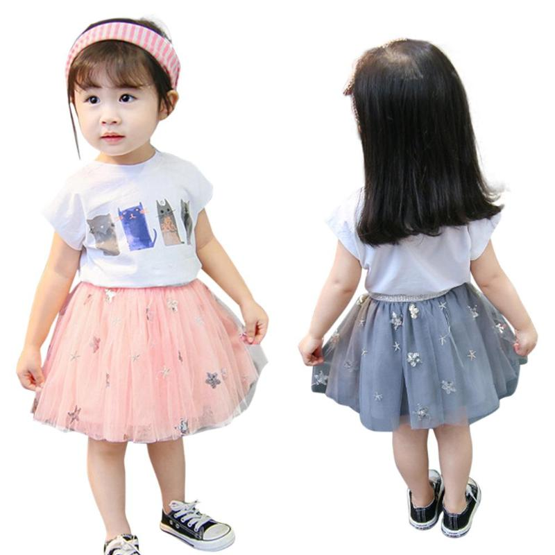 ee971a5a1e82 2pcs Kids girls Outfits Tops+Skirt 2019 new children girls Clothes Summer  Toddler Girls T
