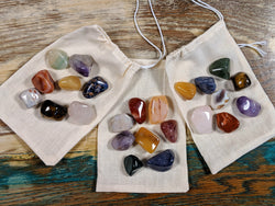 Mixed Chakra Stone Set-  Bag of 7 Polished Stones Plus 1 Bonus Stone