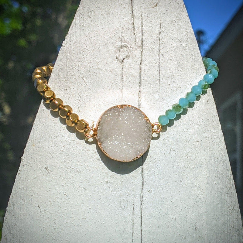 Crystal Cluster Blue and Gold Stretch Bracelet