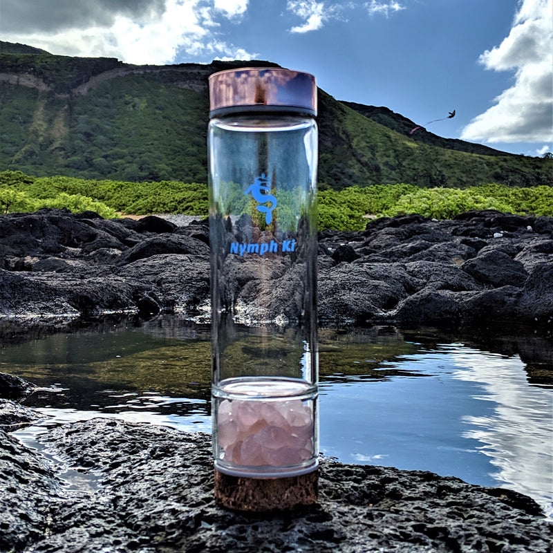 Rose Gold Crystal Ki Water Bottle with Rose Quartz Crystals and Stainless Steel Tea Strainer