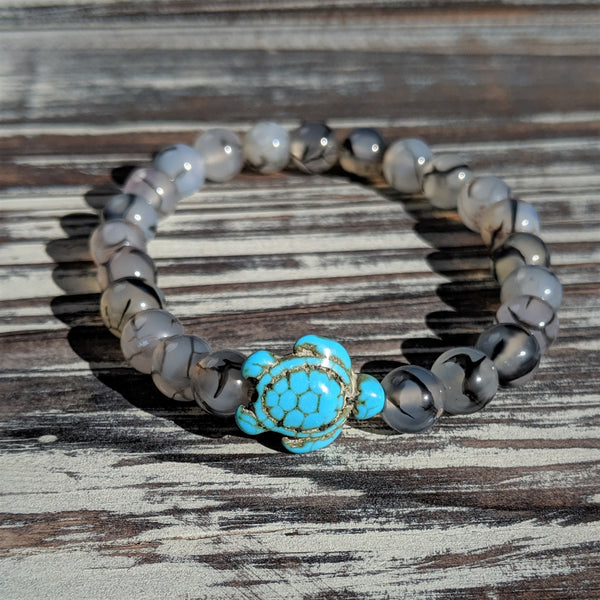 Tourmalinated Quartz Turtle Bracelet