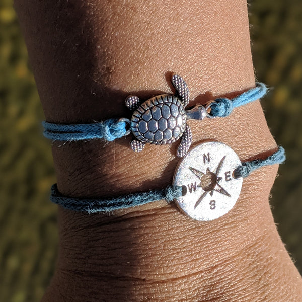 True North Nautical Silver Tone Turtle Bracelet in Blues