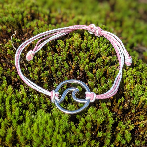 The Wave Collection Bracelet in Pink and White