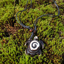 Brown and White Spiral Turtle Necklace
