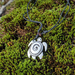 White Spiral Turtle Necklace
