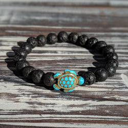 Lava Rock Turtle Bracelet