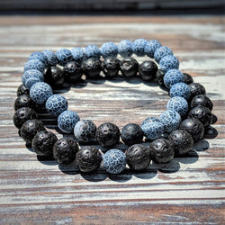 Lava Rock and Weathering Agate Bracelet Duo
