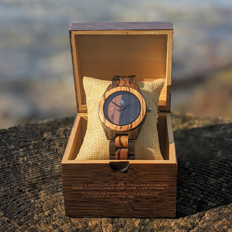Zebra Ebony Wood Watch