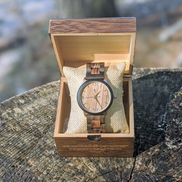 Ebony & Zebra Wood Watch with Rose Gold & Gold Accents