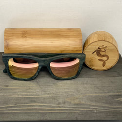 RoseGold Lens Dark Polarized Bamboo Sunglasses