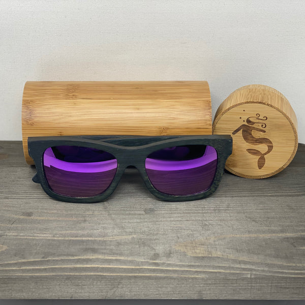 Purple Lens Dark Polarized Bamboo Sunglasses