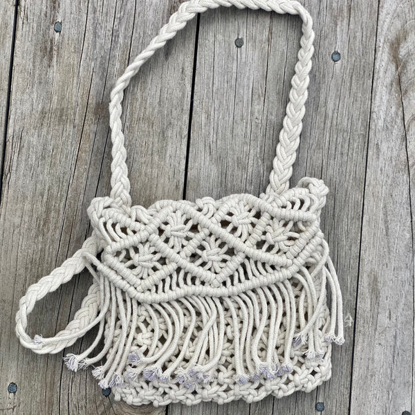 Macrame Fold Over Purse