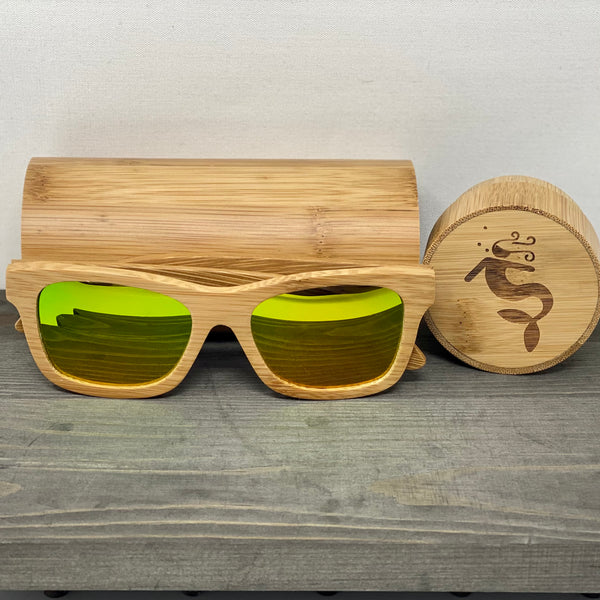 Watermelon Lens Polarized Bamboo Sunglasses