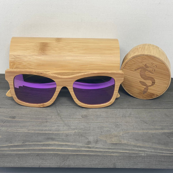 Purple Lens Light Polarized Bamboo Sunglasses