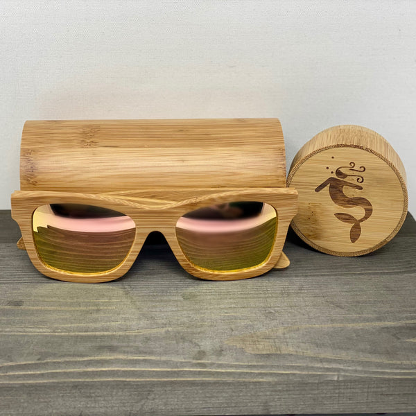RoseGold Lens Light Bamboo Polarized Sunglasses