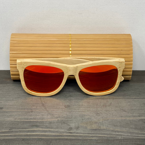 Blood Orange Lens Polarized Bamboo Sunglasses