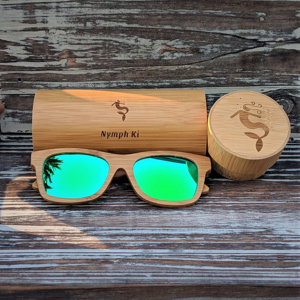 Green Mirror Lens Polarized Bamboo Sunglasses
