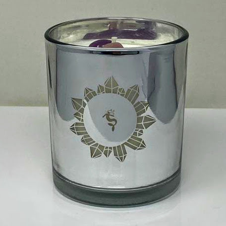 Lemongrass Crystal Infused Candle with Amethyst and Rose Quartz