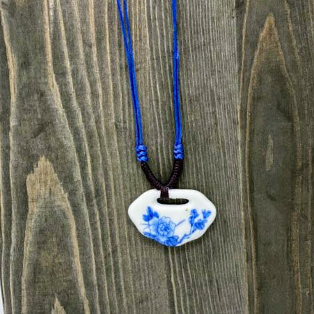 Blue Floral Porcelain Necklace