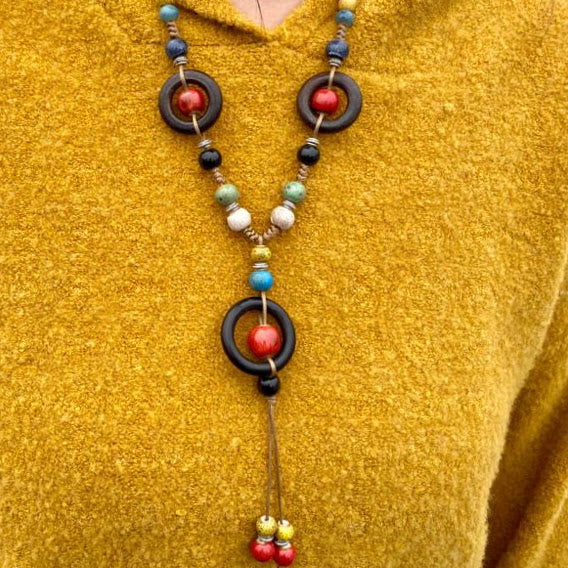 Fall Colors Wood Bead Necklace