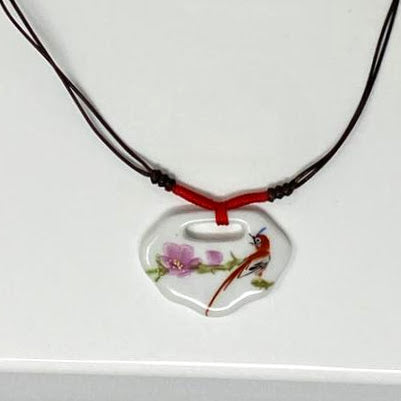 Red-Bellied Paradise Flycatcher Porcelain Necklace
