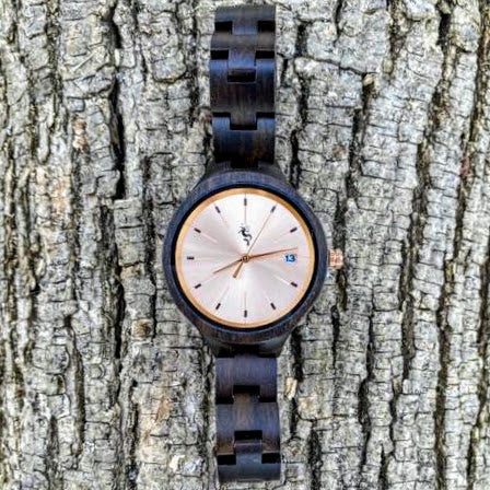 Ebony Wood Watch with Rose Gold Face