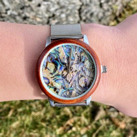 Abalone Shell Watch with Steel Band