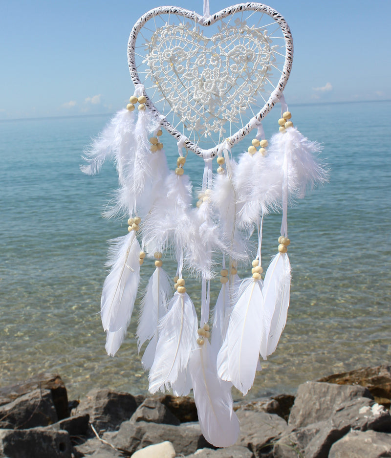 Fairy Light White Heart Dream Catcher