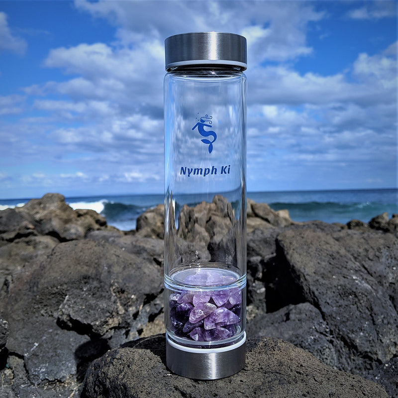 Stainless Steel Crystal Ki Water Bottle with Amethyst Crystals and Stainless Steel Tea Strainer