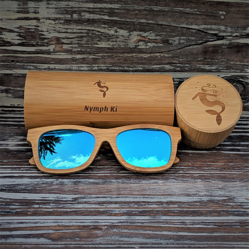 Blue Lens Polarized Bamboo Sunglasses