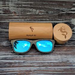Blue Lens Polarized Dark Bamboo Sunglasses