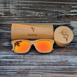 Orange Mirror Lens Polarized Bamboo Sunglasses