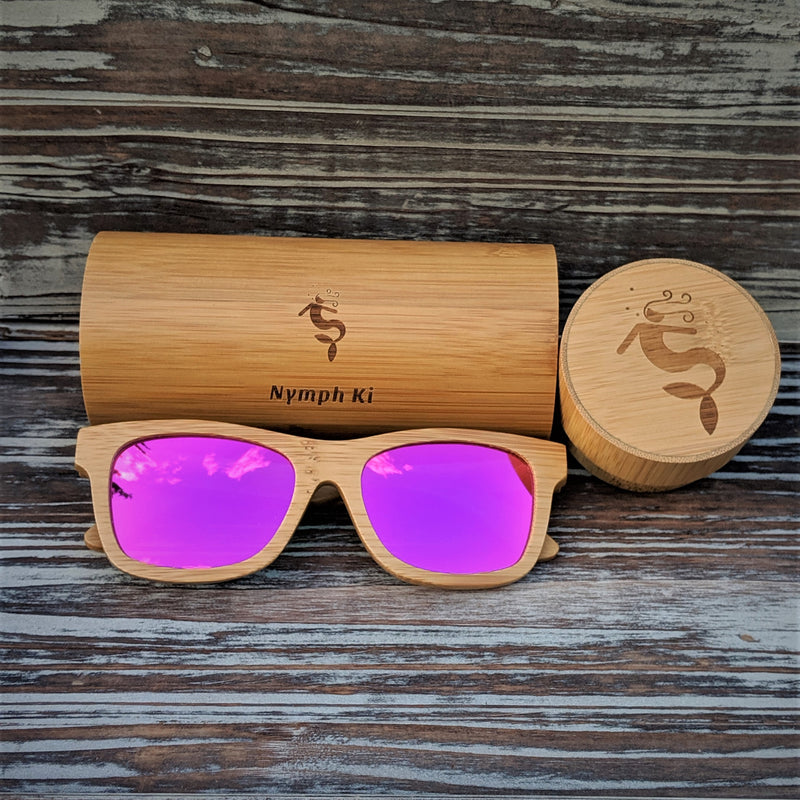Pink Lens Polarized Bamboo Sunglasses